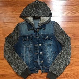 Jackets & Blazers - Jean Jacket with sweatshirt sleeves